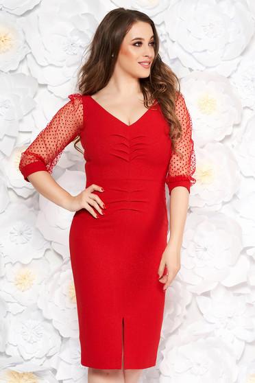 Rochie rosie eleganta tip creion din stofa cu fir lame cu decolteu in v maneci transparente