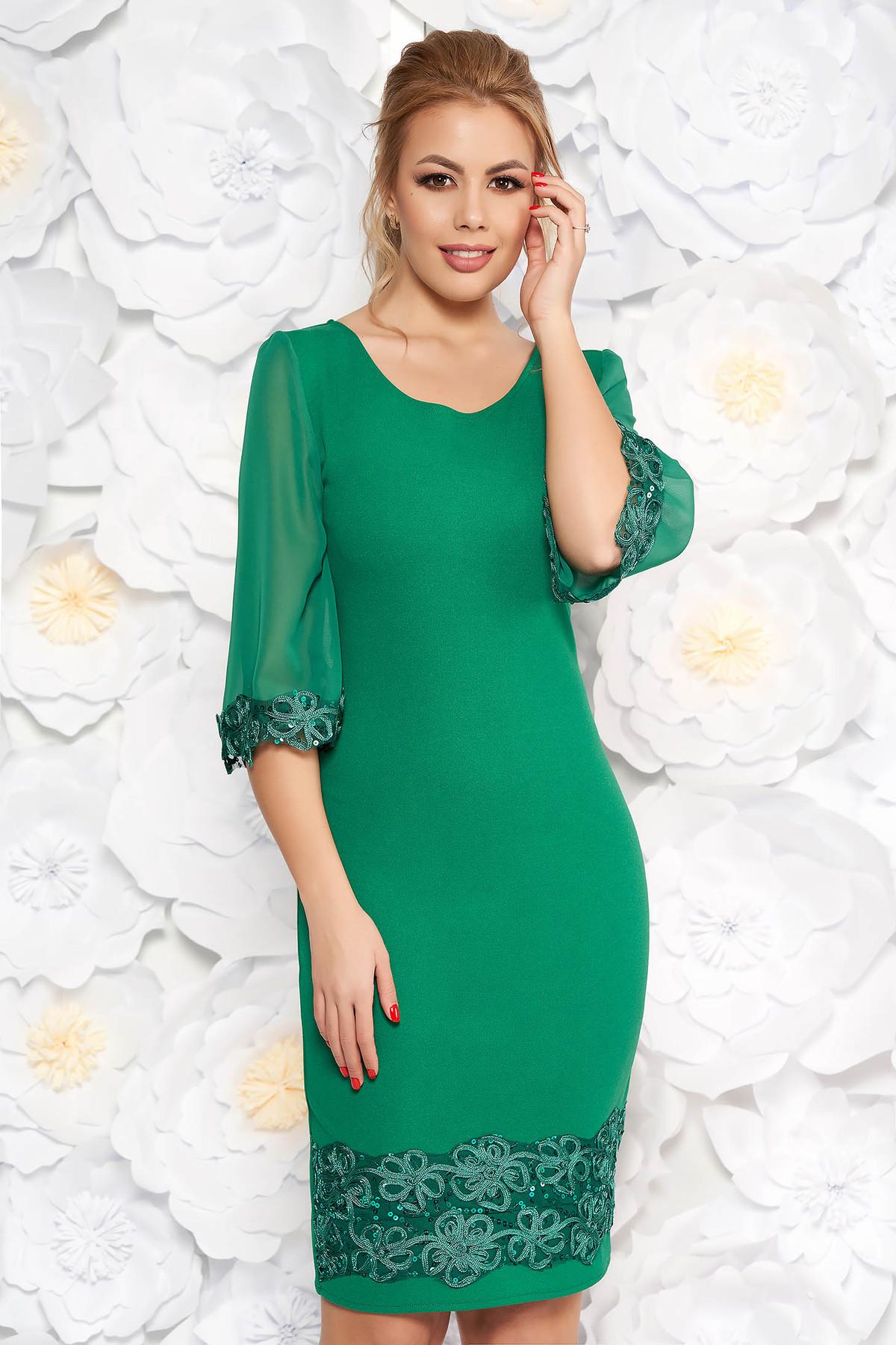 Rochie verde eleganta midi tip creion din material usor elastic cu aplicatii cu paiete