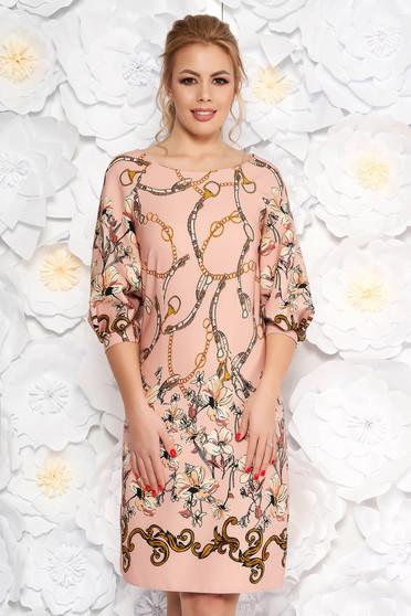Rochie LaDonna rosa eleganta cu croi larg din material usor elastic cu imprimeu floral