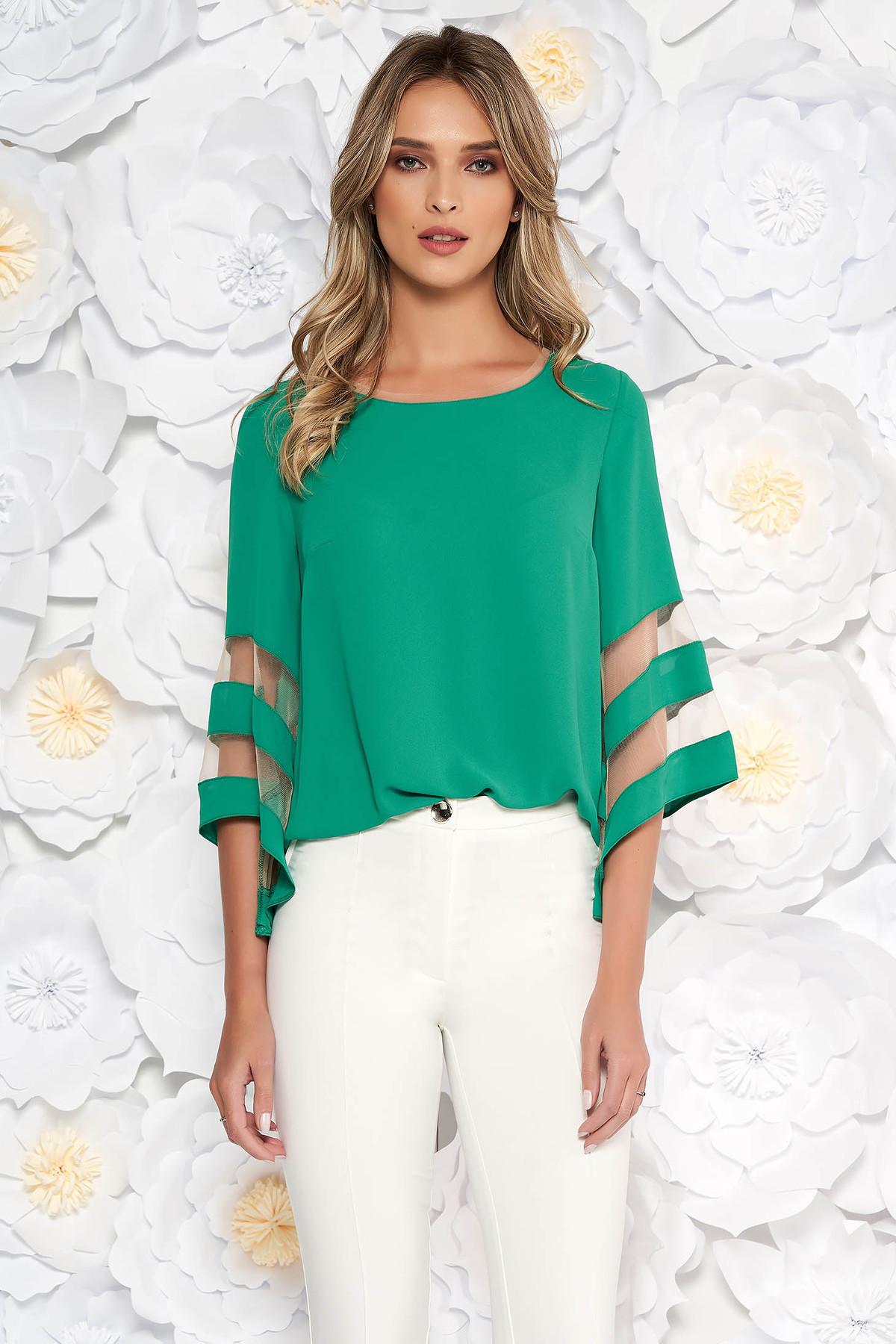 Bluza dama verde eleganta cu croi larg din material vaporos cu maneci clopot