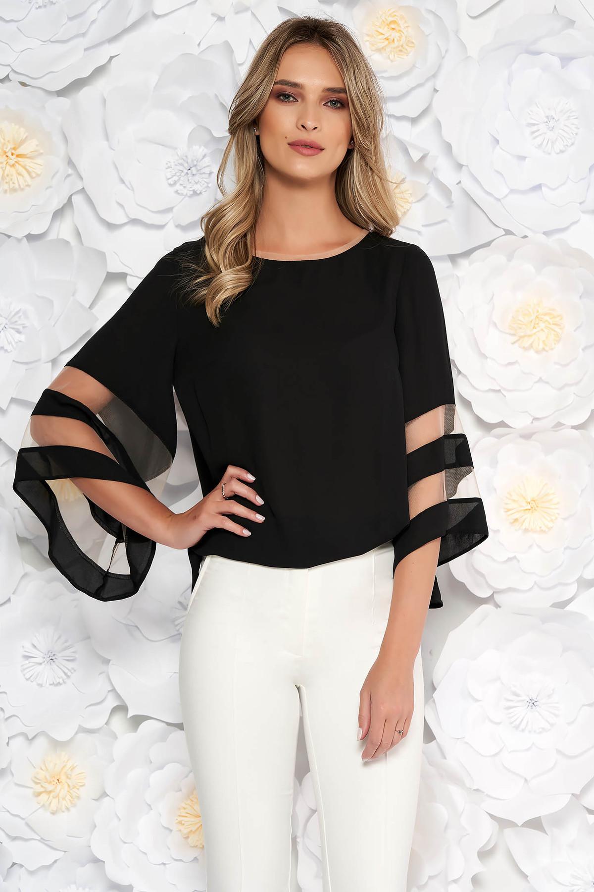 Bluza dama neagra eleganta cu croi larg din material vaporos cu maneci clopot