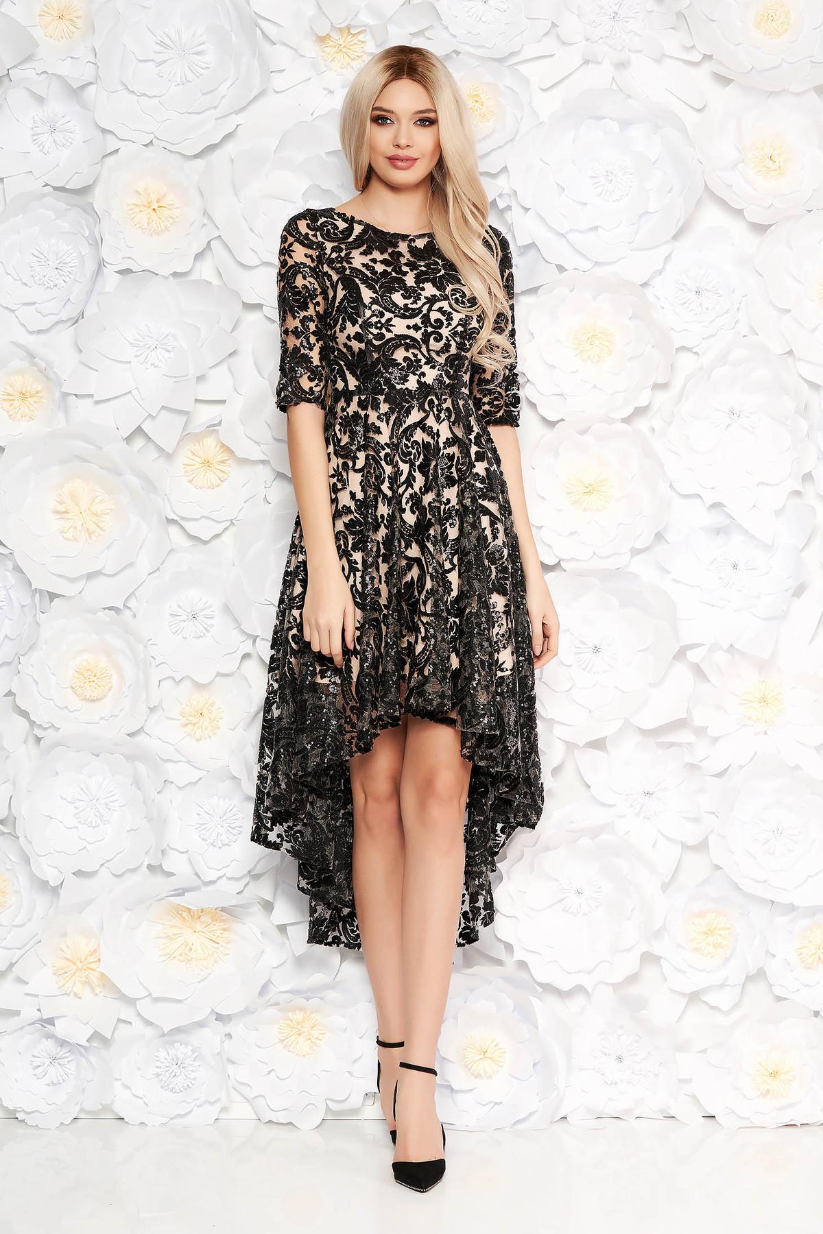 Rochie neagra de seara asimetrica din dantela cu aplicatii cu paiete captusita pe interior