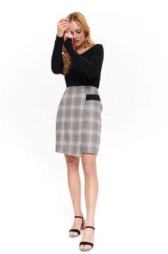 Bluza dama Top Secret neagra basic cu maneca lunga din material vaporos cu decolteu rotunjit