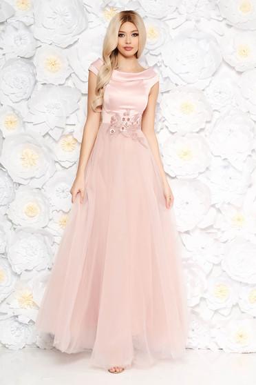 Rochie Artista rosa de ocazie din tul si material satinat cu aplicatii de dantela cu perle captusita pe interior