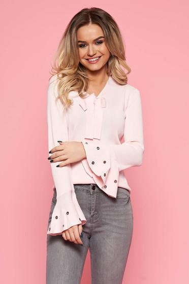 Bluza dama SunShine roz deschis casual cu croi larg din material usor elastic cu maneci clopot si guler tip esarfa