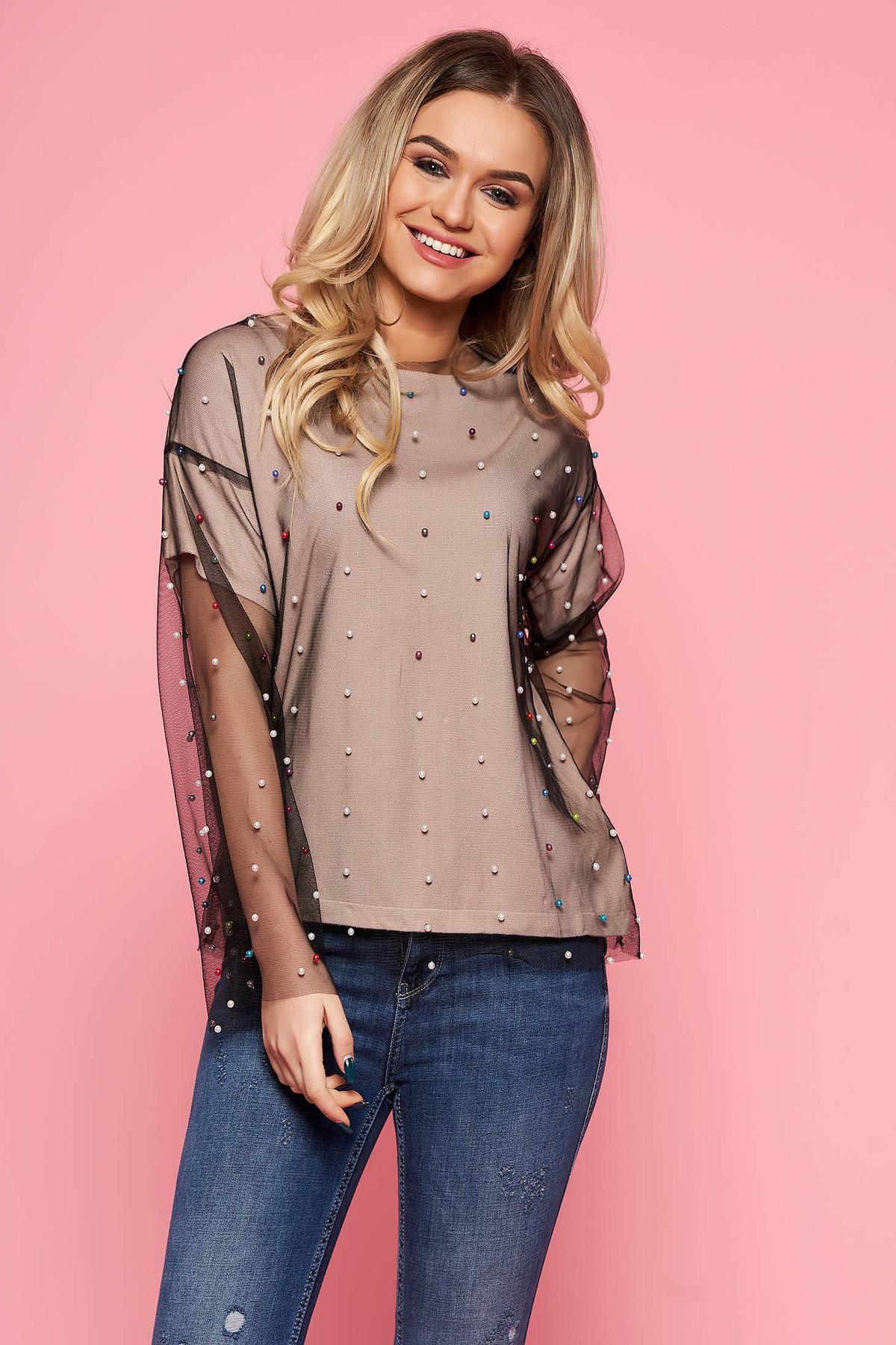 Bluza dama SunShine crem casual cu croi larg din tul captusita pe interior cu aplicatii cu margele