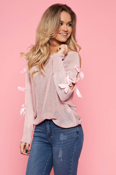 Bluza dama SunShine roz deschis casual cu croi larg cu maneca lunga din bumbac tricotata
