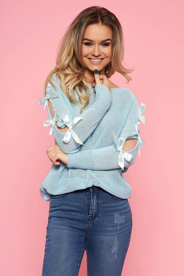Bluza dama SunShine albastra-deschis casual cu croi larg cu maneca lunga din bumbac tricotata