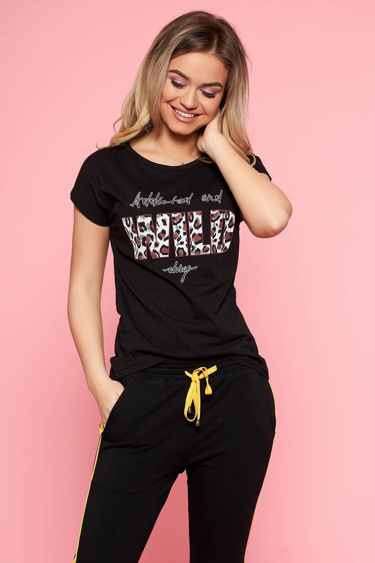 Tricou SunShine negru casual din bumbac usor elastic cu imprimeu de leopard