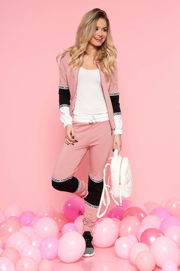 Set SunShine rosa casual cu elastic in talie din bumbac usor elastic cu buzunare