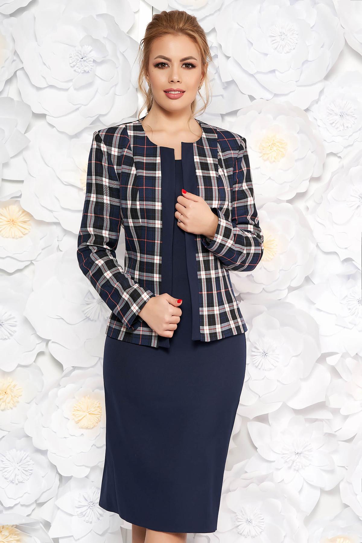 Compleu albastru-inchis office cu rochie din material usor elastic cu maneci scurte si sacou cu un croi drept