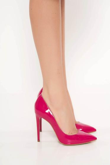 Pantofi fuchsia stiletto elegant din piele naturala lacuita cu toc inalt
