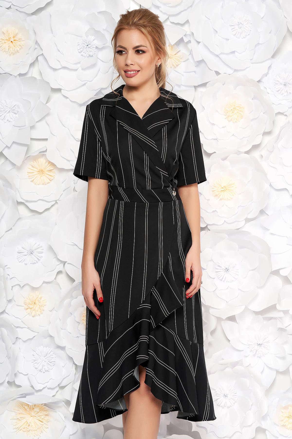 Rochie neagra de zi cu maneci scurte cu volanase la baza rochiei cu decolteu in v