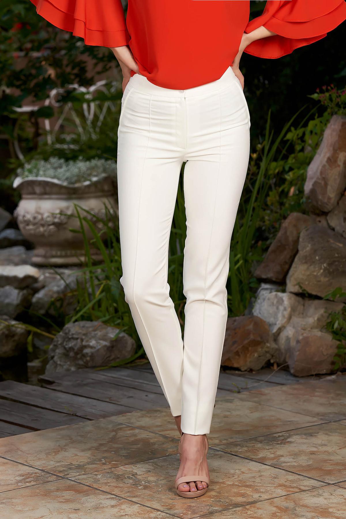 Pantaloni LaDonna albe office conici cu talie medie din material usor elastic cu buzunare false
