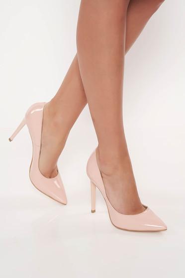 Pantofi rosa stiletto elegant din piele naturala cu toc inalt
