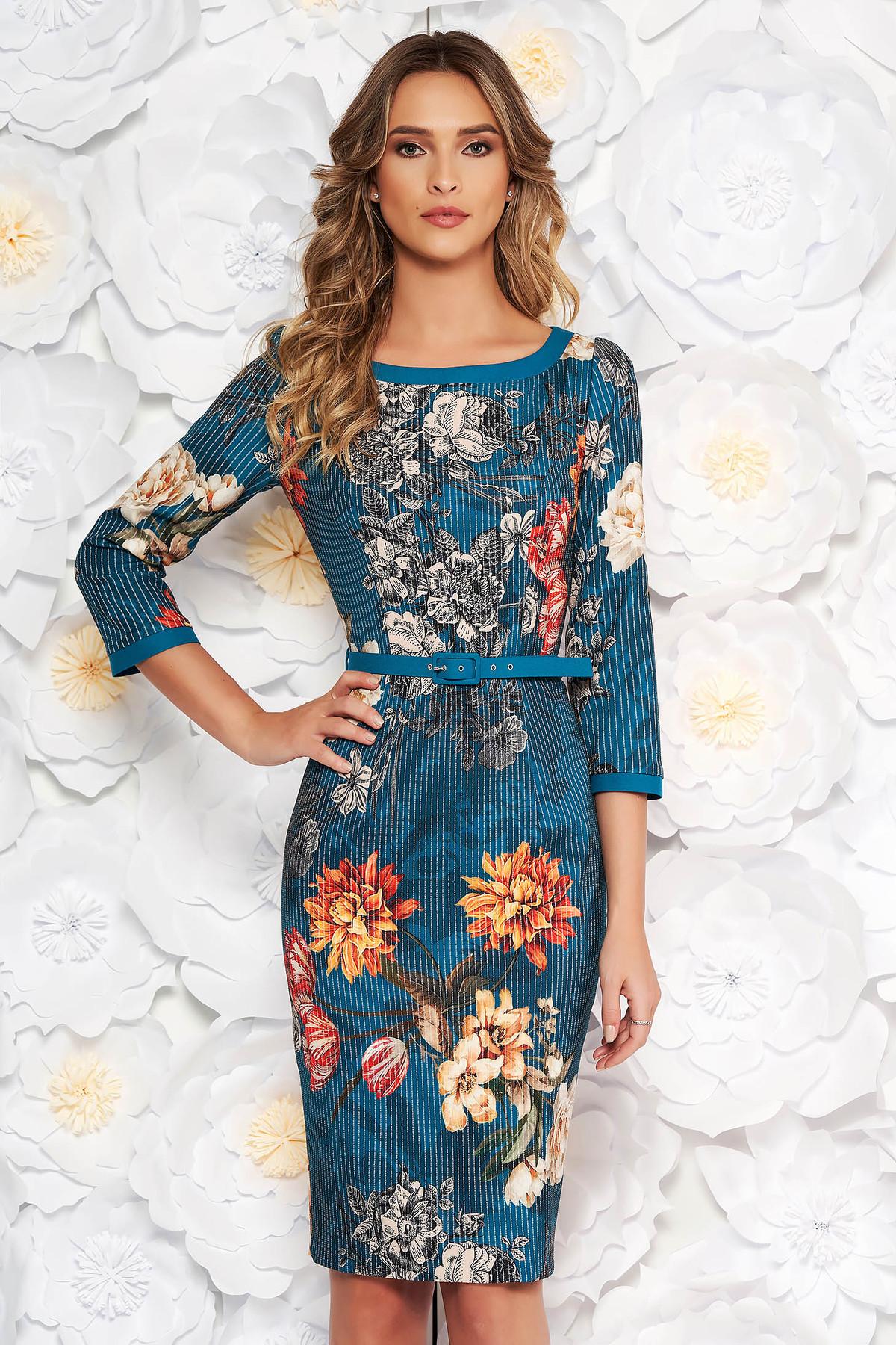 Rochie turcoaz eleganta tip creion cu imprimeuri florale cu accesoriu tip curea