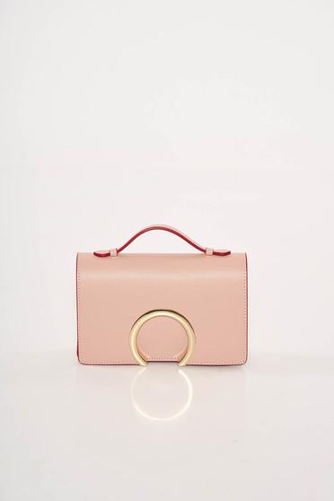 Geanta dama rosa de ocazie din piele naturala cu accesoriu metalic