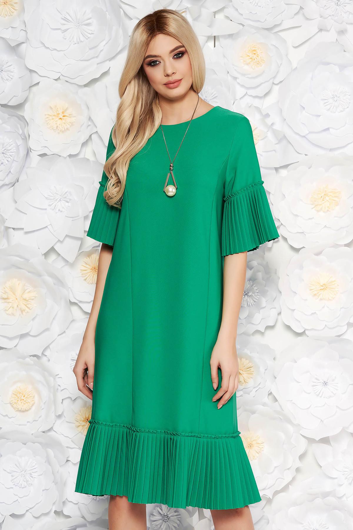 Rochie verde eleganta midi cu un croi drept din stofa usor elastica