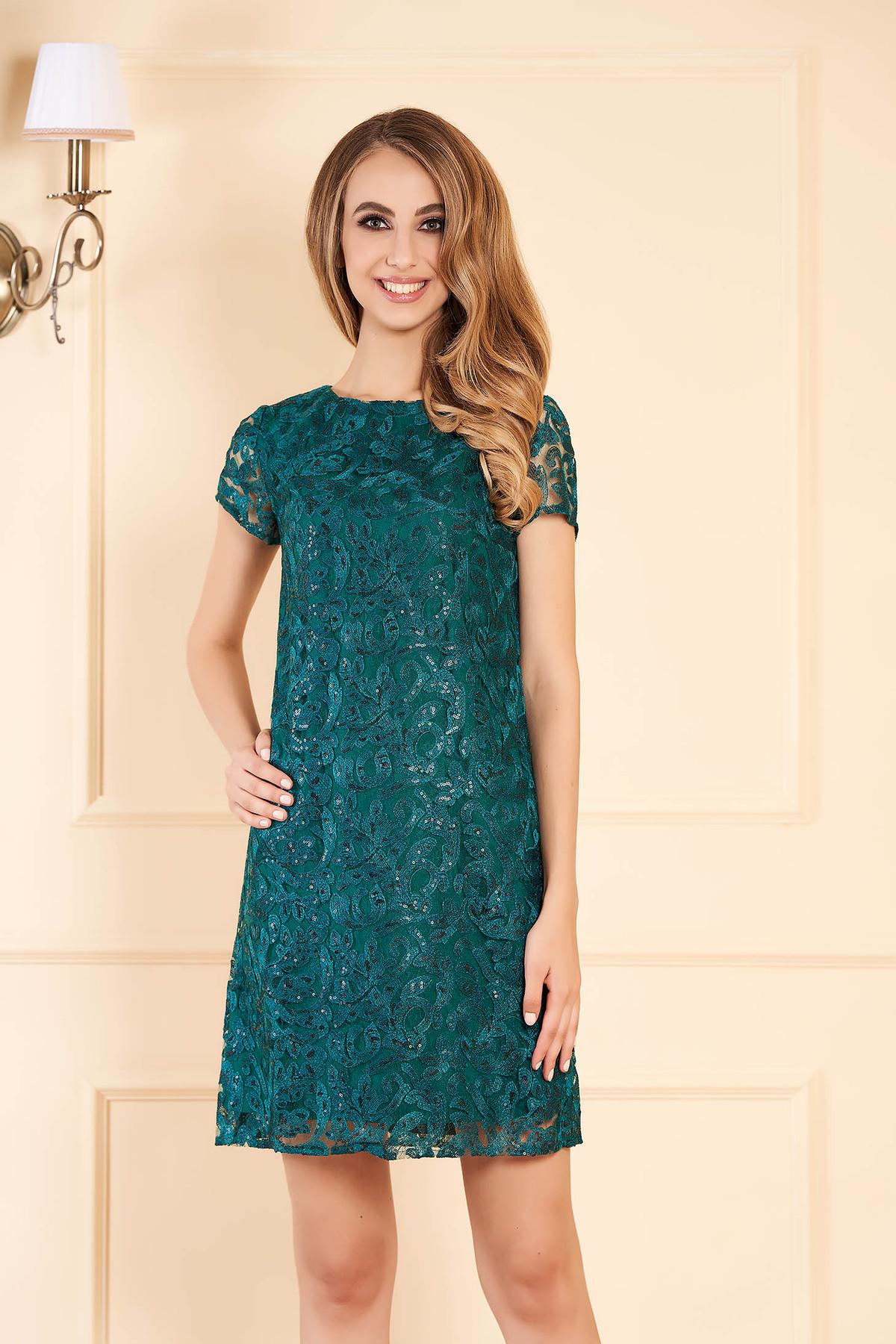 Rochie verde-inchis de ocazie cu croi larg din dantela cu aplicatii cu paiete captusita pe interior