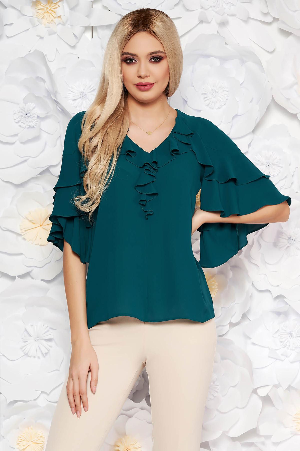 Bluza dama verde-inchis eleganta din voal cu decolteu cu volanase cu croi larg