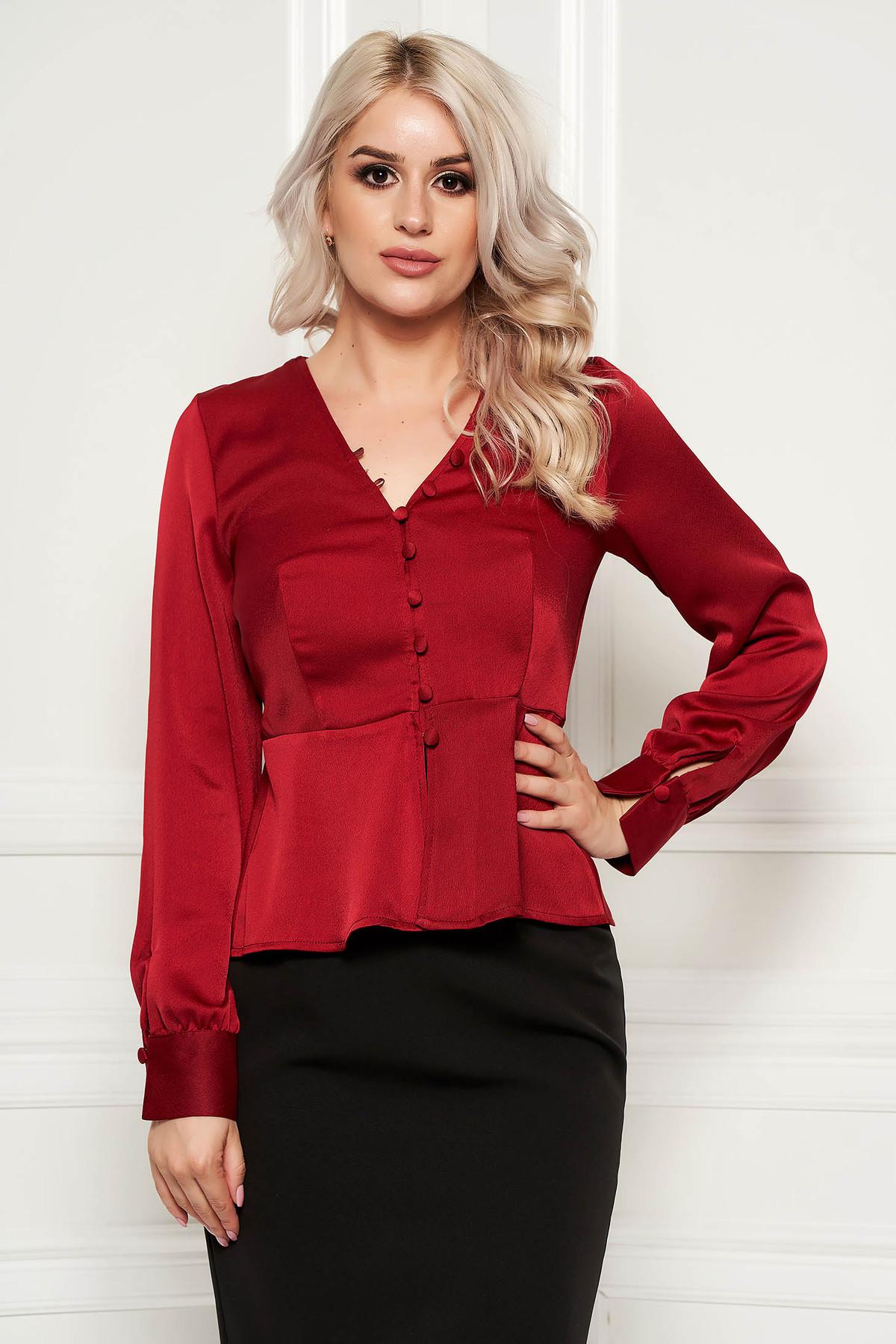 Bluza dama StarShinerS visinie eleganta cu un croi mulat din material satinat cu peplum