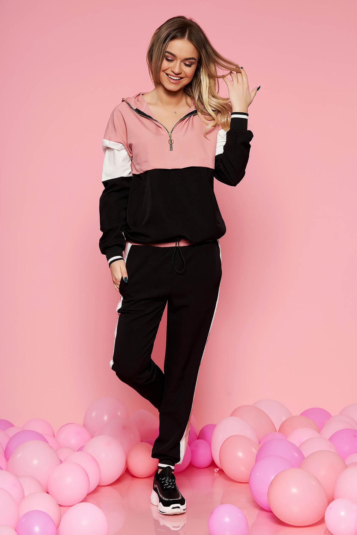 Set SunShine roz deschis casual cu croi larg din material subtire cu buzunare si elastic in talie