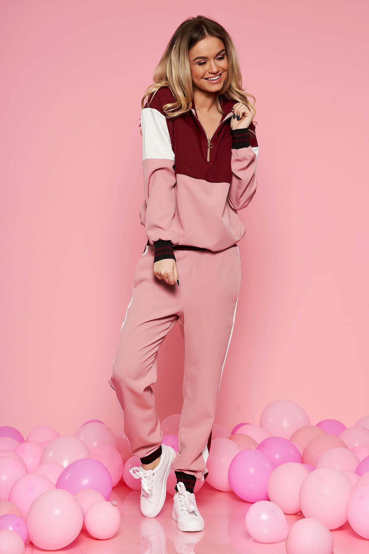 Set SunShine rosa casual cu croi larg din material fin la atingere cu buzunare si elastic in talie