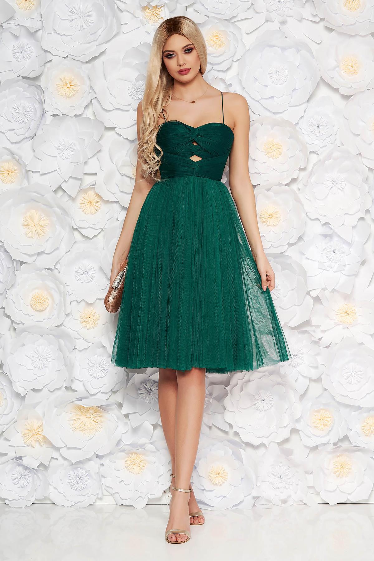 Rochie Ana Radu verde-inchis de lux tip corset in clos din tul captusita pe interior decupat la bust