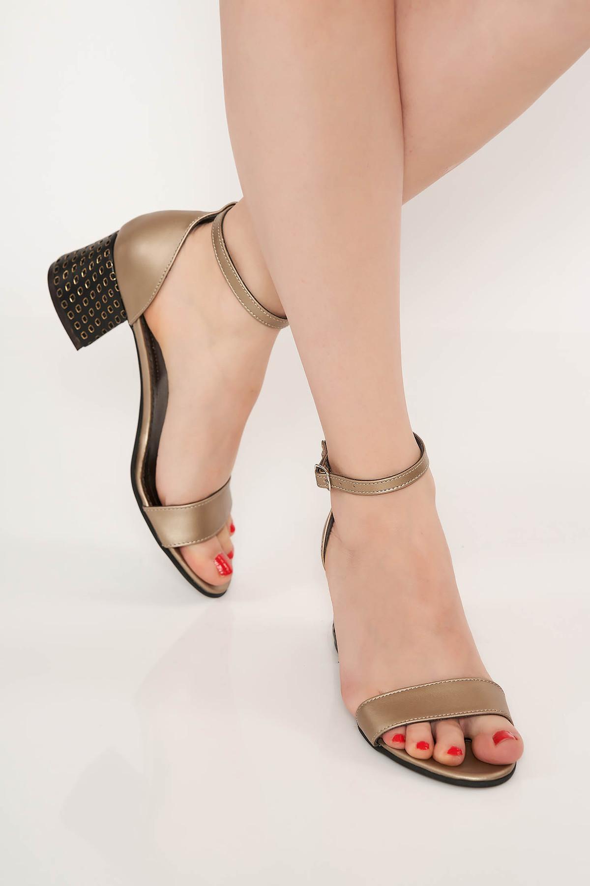 Sandale gri inchis elegante din piele naturala cu toc gros