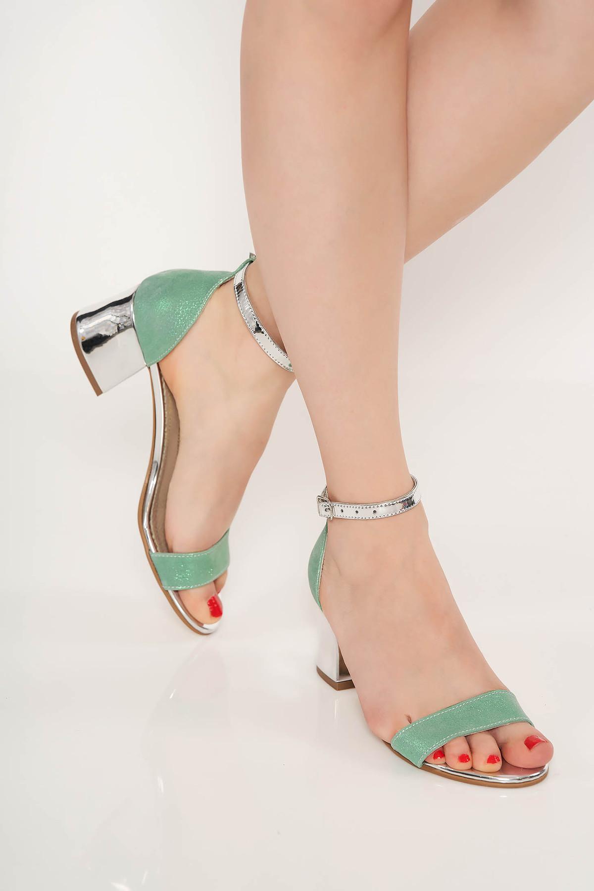Sandale mint de ocazie din piele naturala cu toc gros