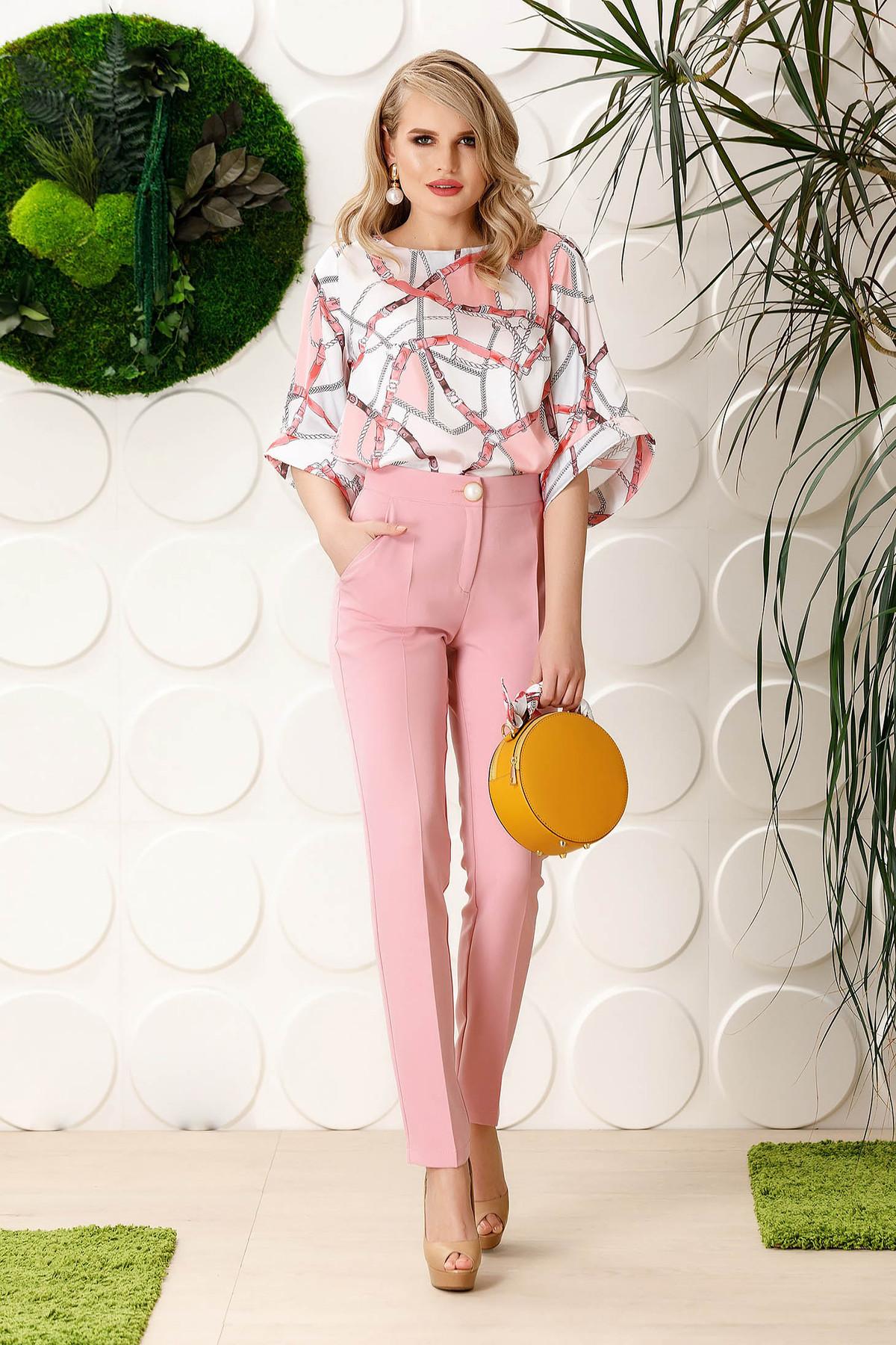 Pantaloni PrettyGirl rosa eleganti office cu un croi drept din stofa usor elastica