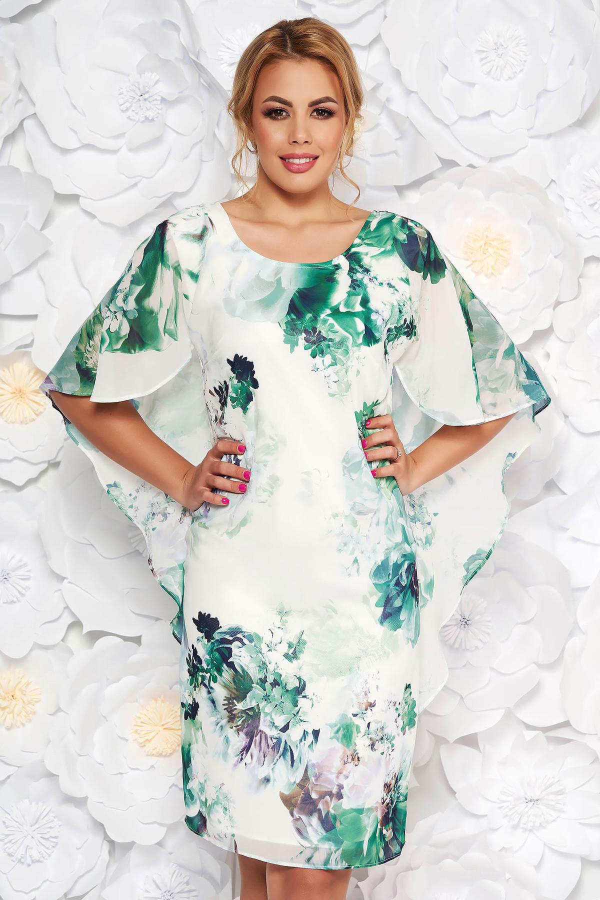Rochie verde-deschis eleganta din voal cu imprimeu floral cu un croi mulat cu suprapunere de material