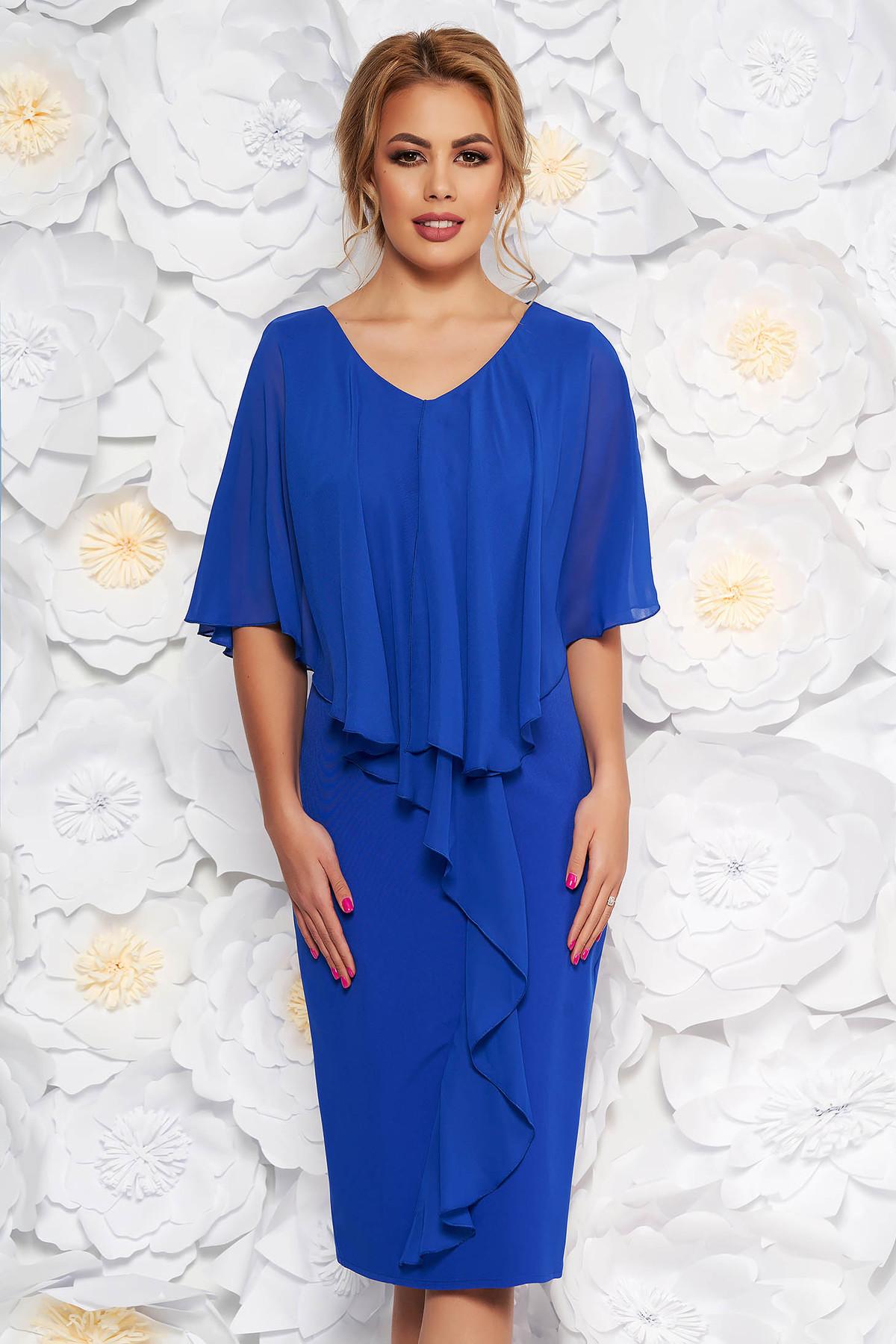 Rochie albastra de ocazie midi fara maneci cu un croi cambrat din stofa subtire usor elastica suprapunere cu voal