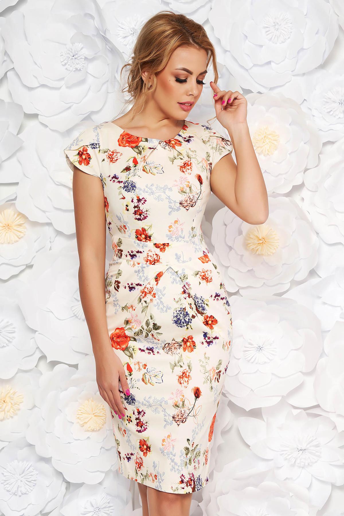 Rochie alba de zi tip creion din bumbac usor elastic cu imprimeuri florale