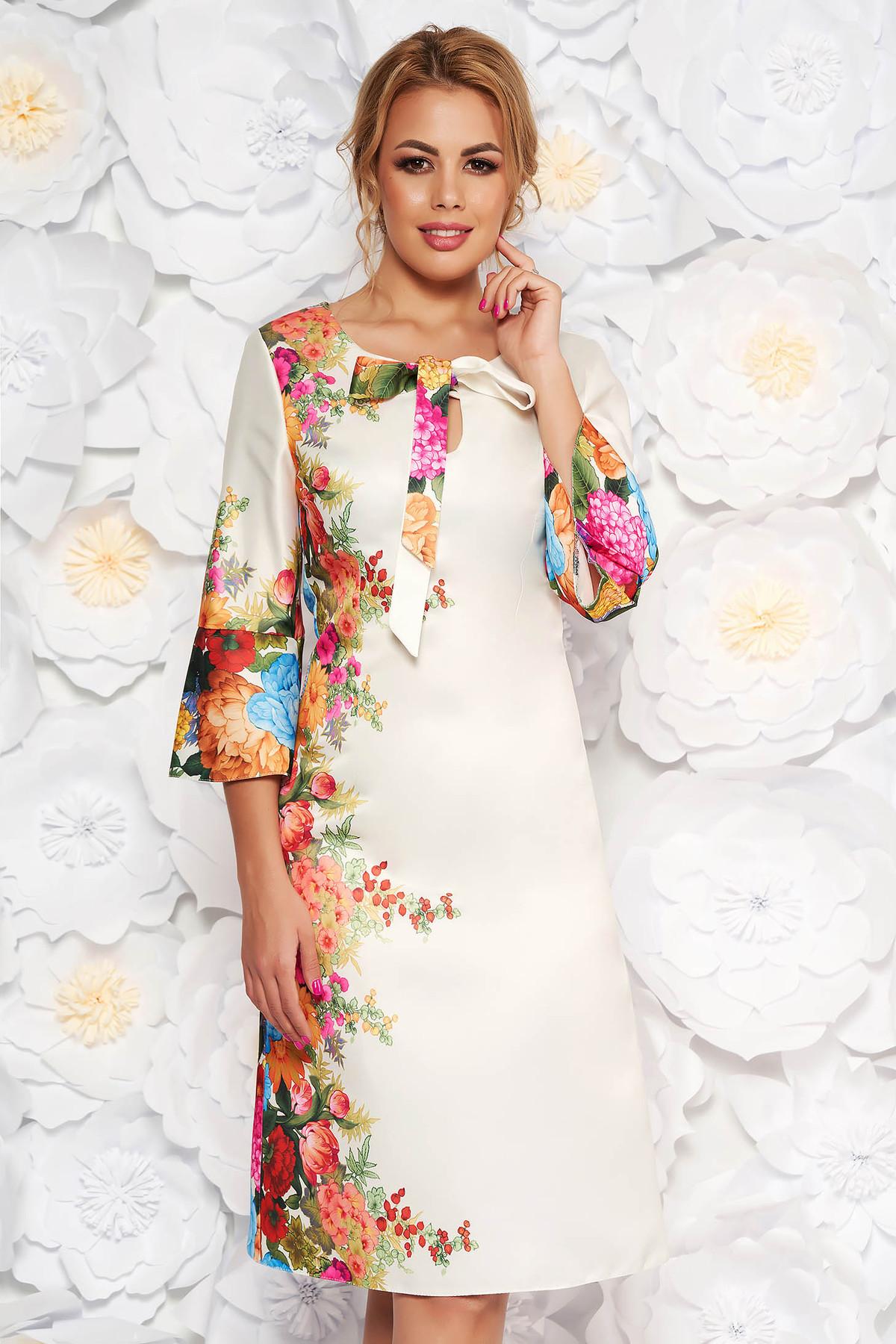 Rochie alba eleganta cu croi in a din material satinat cu imprimeuri florale