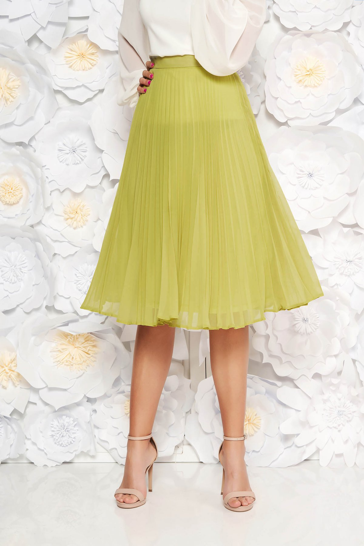 Fusta verde-deschis StarShinerS eleganta in clos plisata cu talie medie din voal