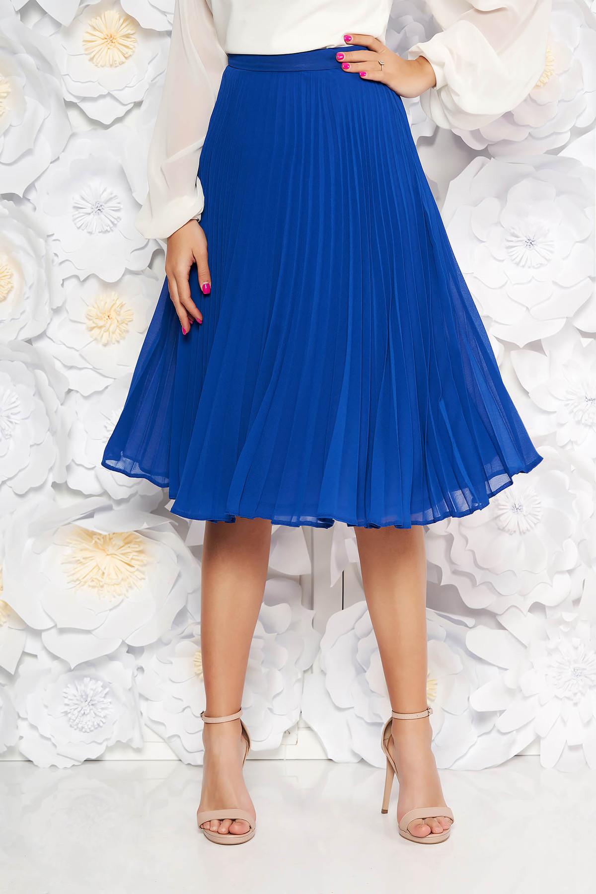 Fusta albastra StarShinerS eleganta in clos plisata cu talie medie din voal