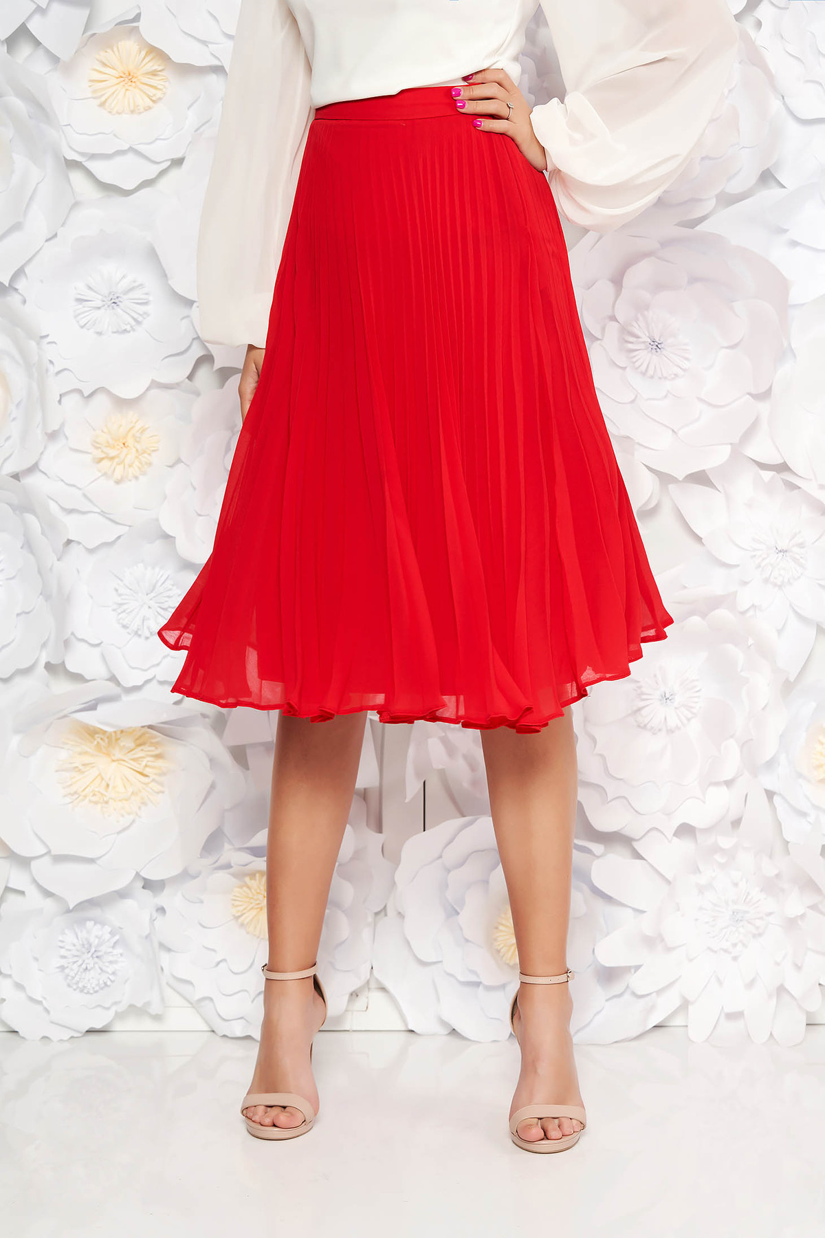 Fusta rosie StarShinerS eleganta in clos plisata cu talie medie din voal