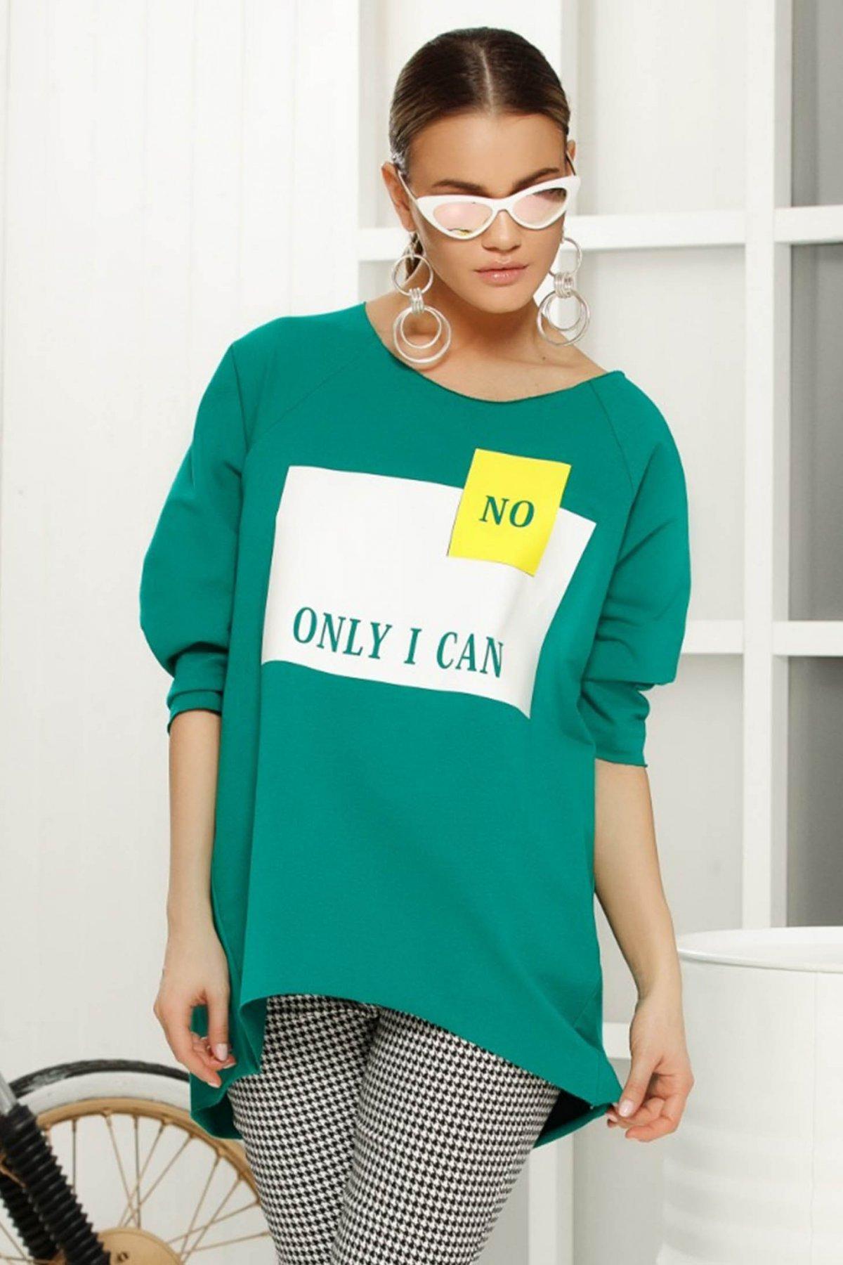 Bluza dama verde casual asimetrica cu croi larg cu maneci trei-sferturi