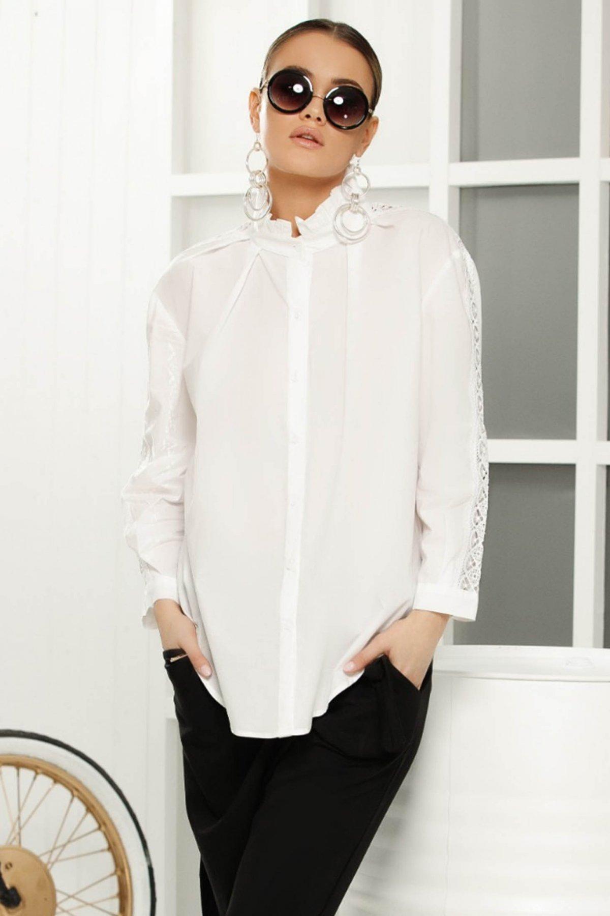 Camasa dama alba eleganta cu croi larg cu aplicatiii de datela pe maneca