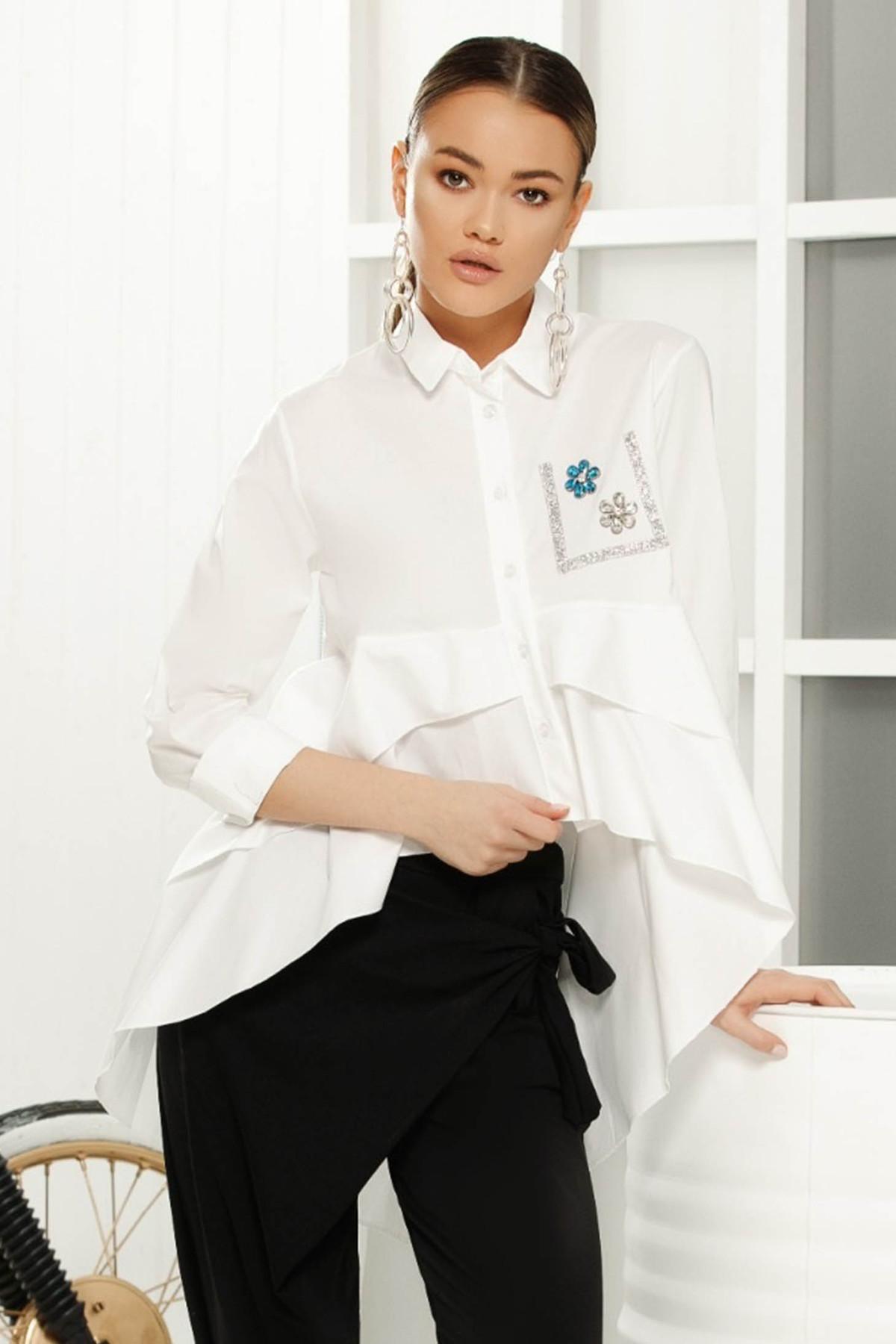 Camasa dama alba eleganta cu croi larg asimetrica din material vaporos