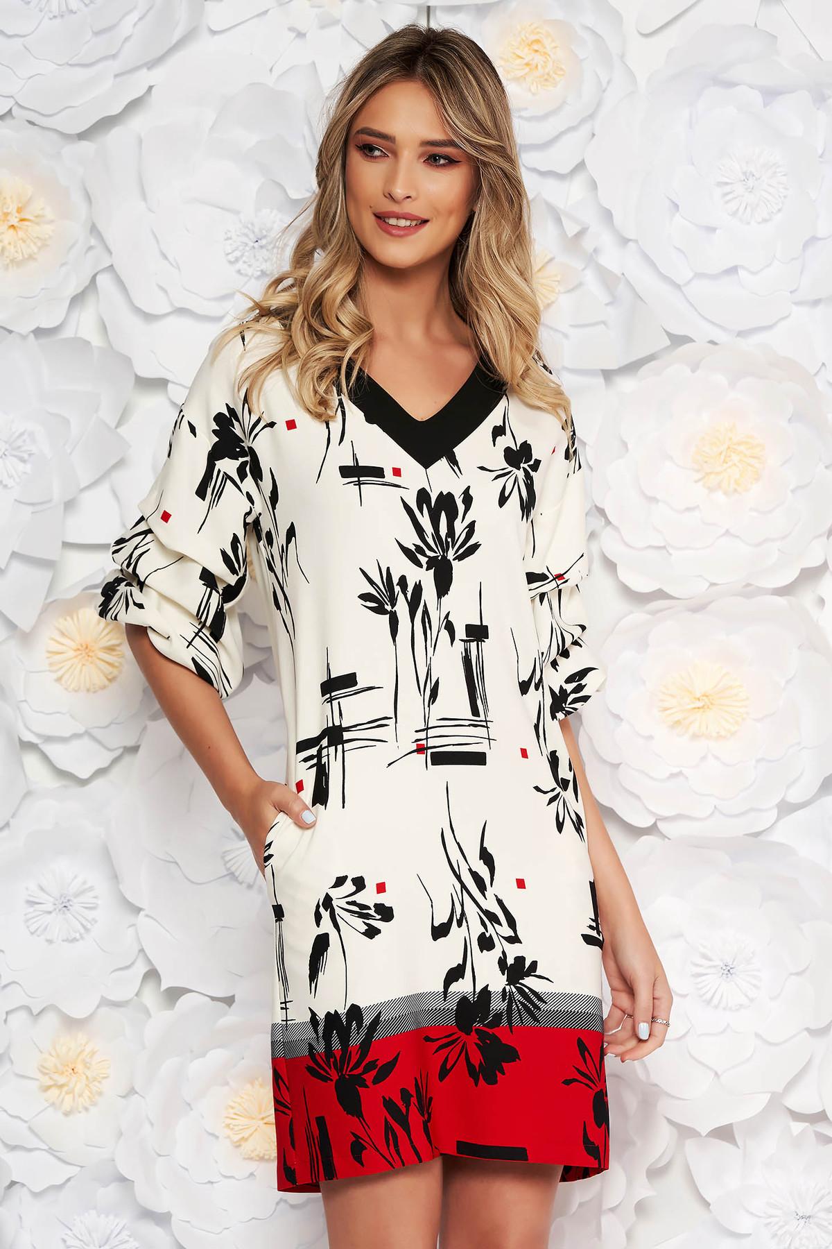 Rochie LaDonna alba cu accente rosii eleganta de zi cu un croi drept cu maneca 3/4 din material usor elastic cu imprimeuri florale
