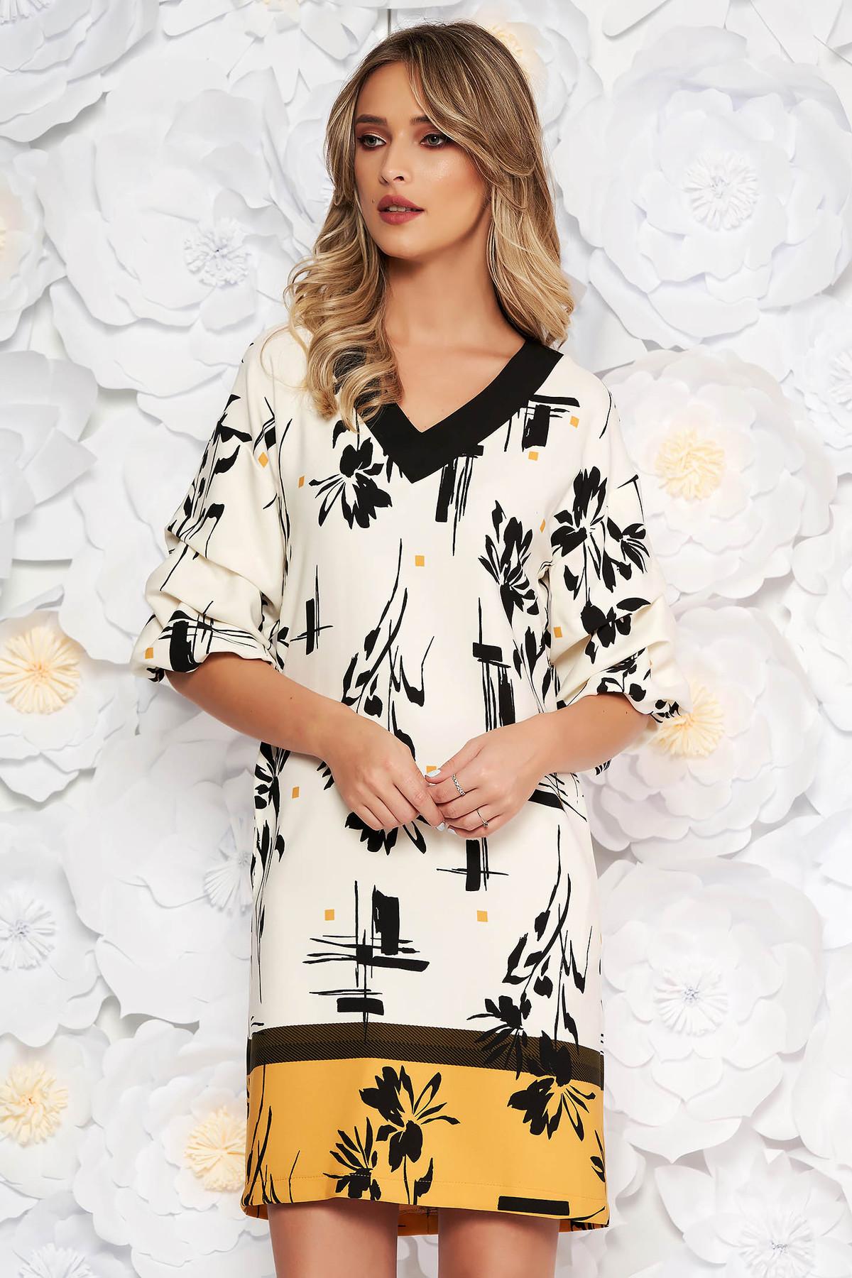 Rochie LaDonna alba cu accente mustarii eleganta de zi cu un croi drept cu maneca 3/4 din material usor elastic cu imprimeuri florale