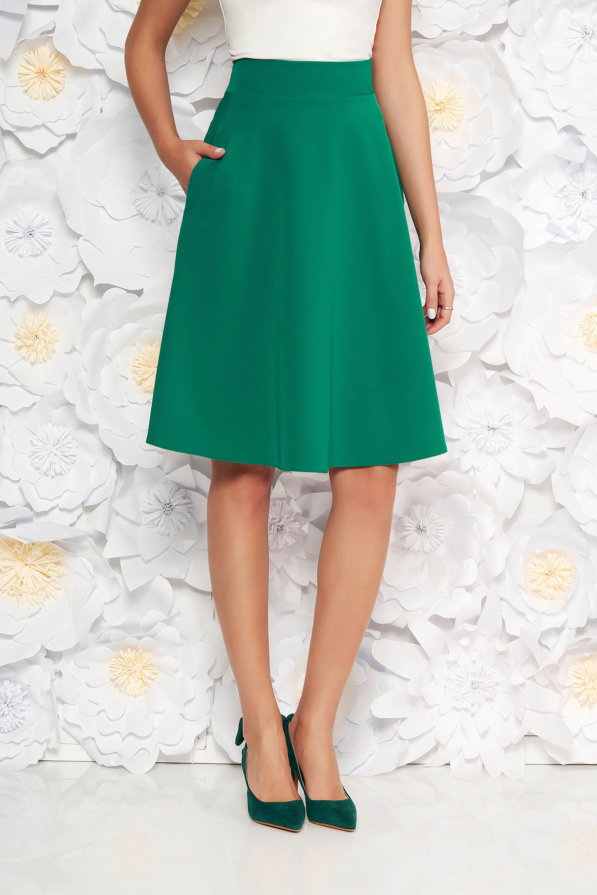 Fusta StarShinerS verde eleganta in clos cu talie inalta din stofa usor elastica office
