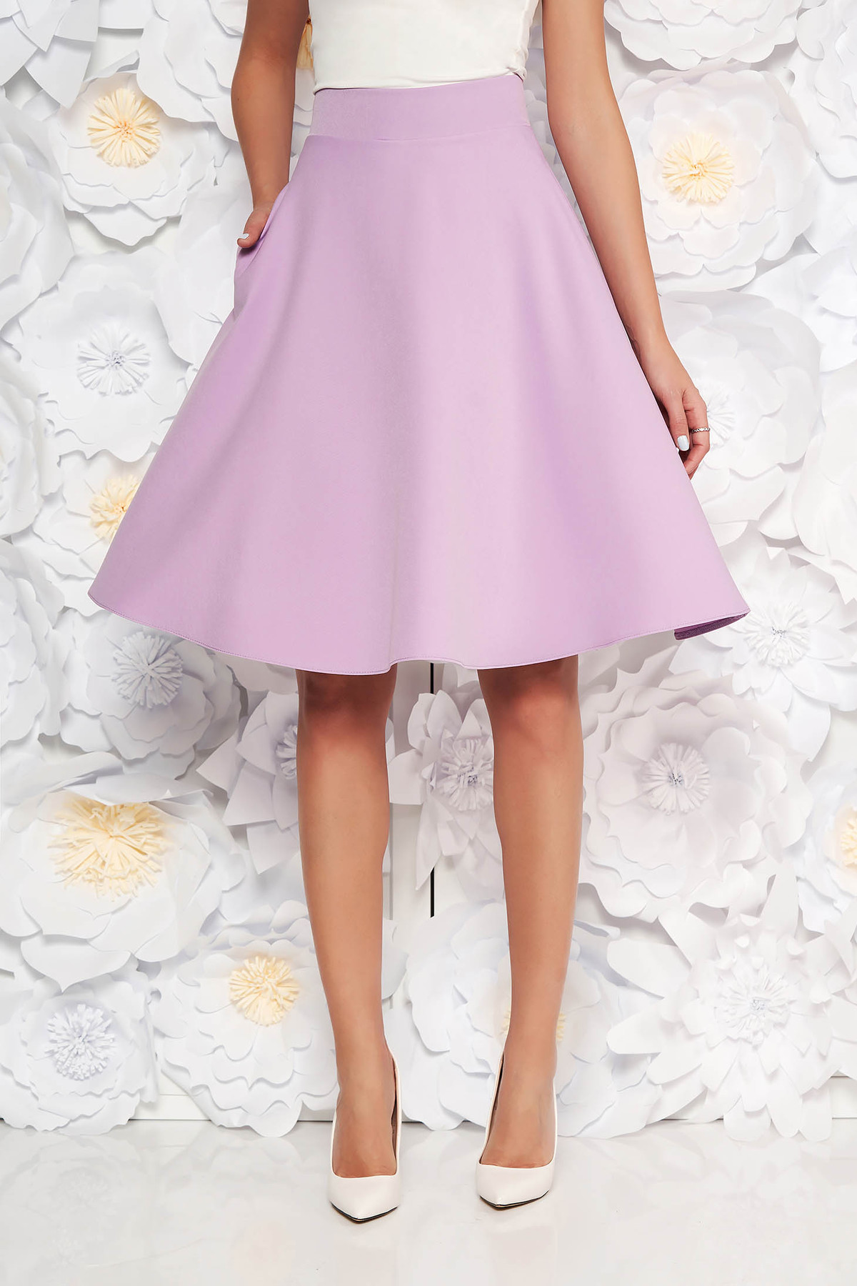 Fusta StarShinerS lila eleganta in clos cu talie inalta din stofa usor elastica office