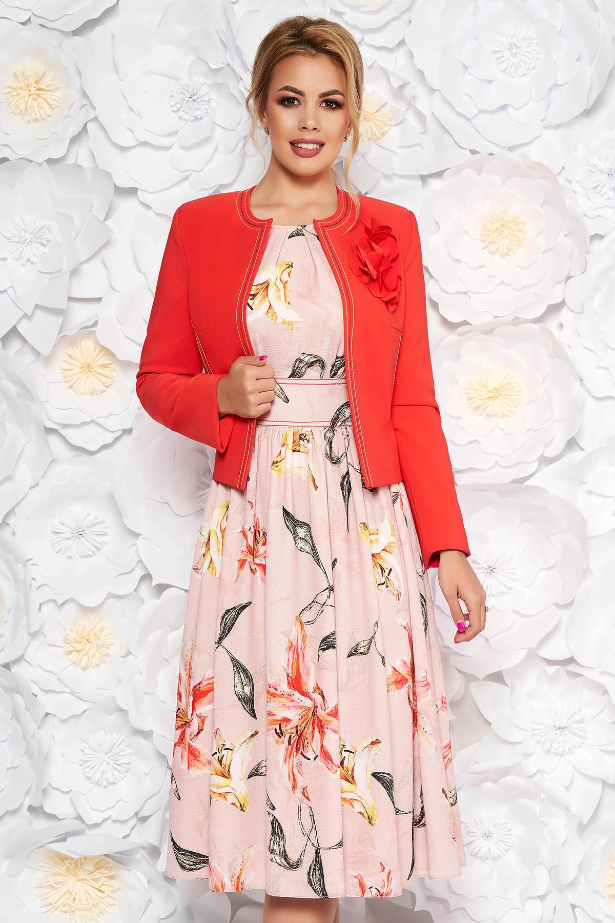 Compleu LaDonna corai elegant din 2 piese cu rochie cu imprimeu floral