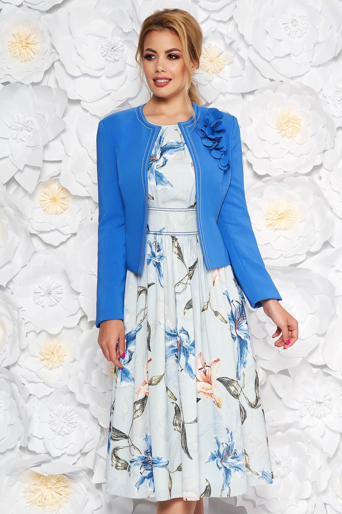 Compleu LaDonna albastru elegant din 2 piese cu rochie cu imprimeu floral