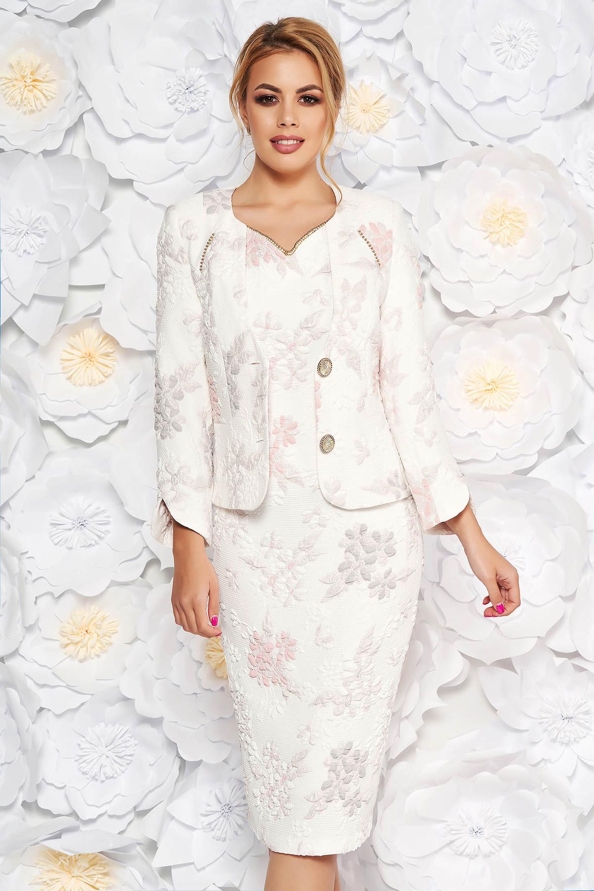 Compleu roz deschis elegant din 2 piese cu rochie din jaquard cu fir lame