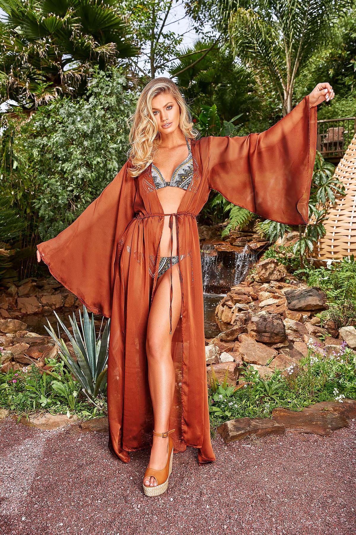 Rochie Cosita Linda caramizie de lux de plaja cu croi larg din material usor transparent cu snur in talie image0