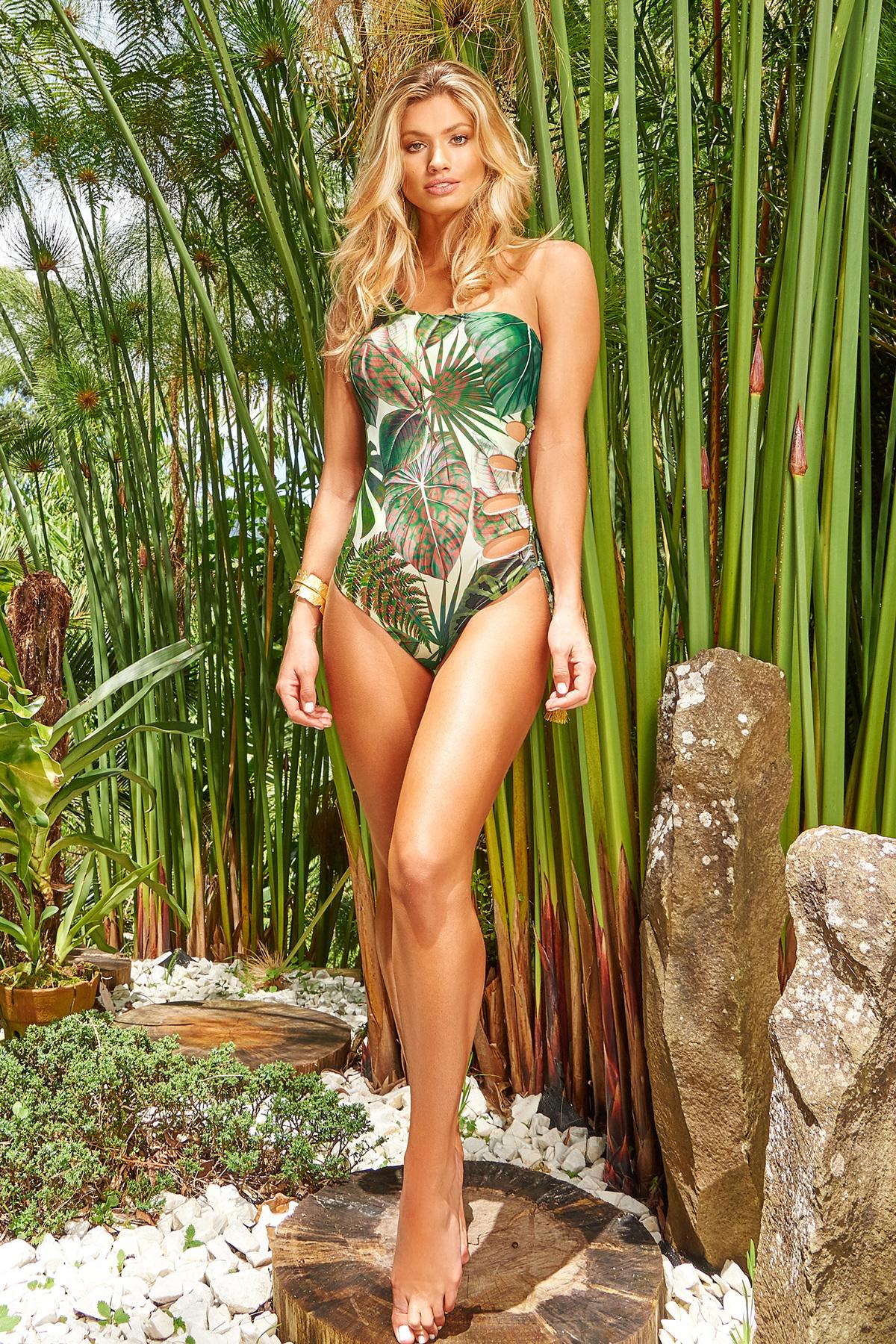 Costum de baie Cosita Linda verde de lux intreg cu decolteu asimetric cu imprimeuri florale